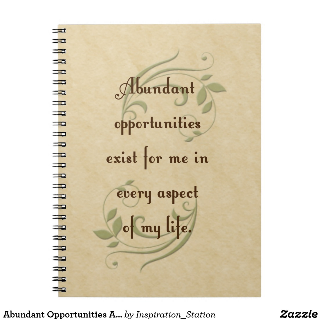 Notebook with Abundant Opportunities Affirmation Image