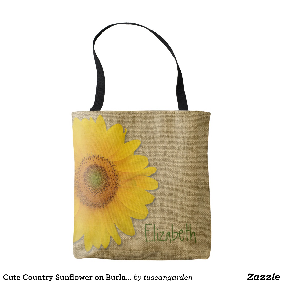 Cute Country Sunflower on Burlap Custom Tote Bag Image