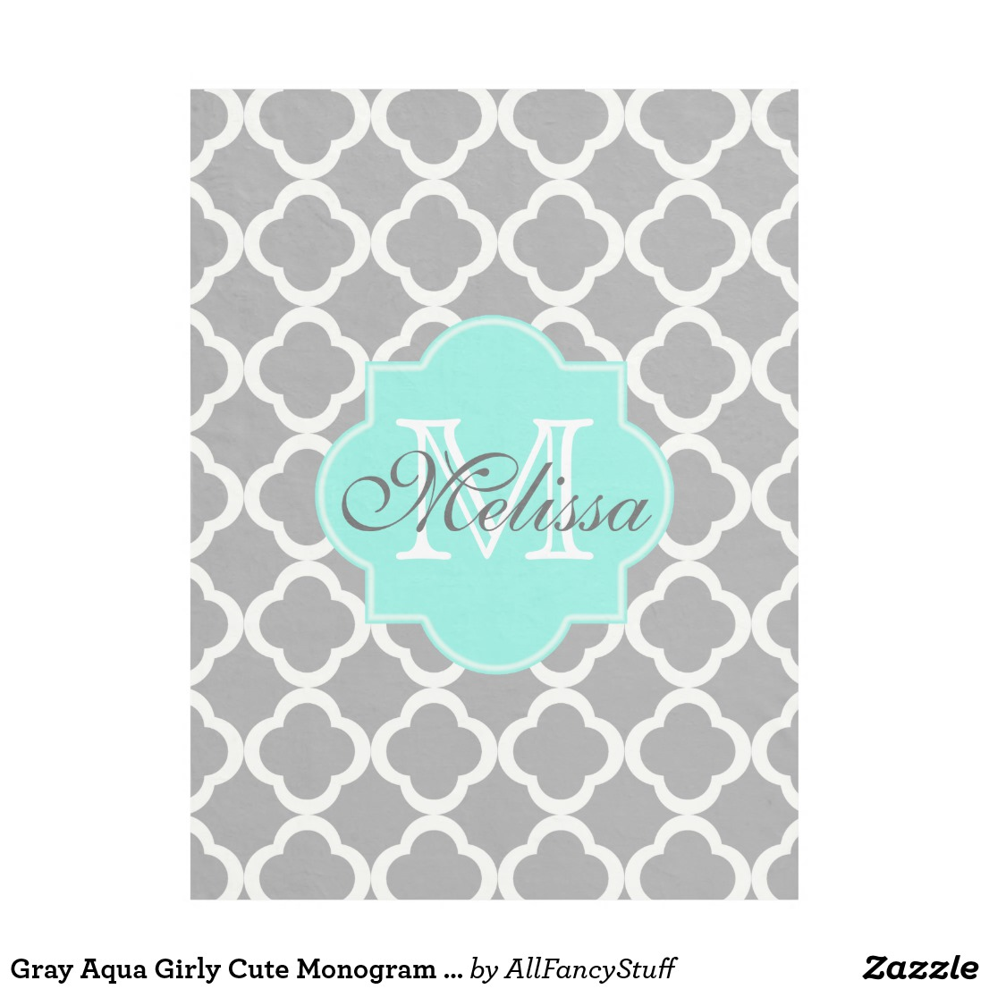 Gray Aqua Girly Cute Monogram Quatrefoil Pattern Fleece Blanket Image