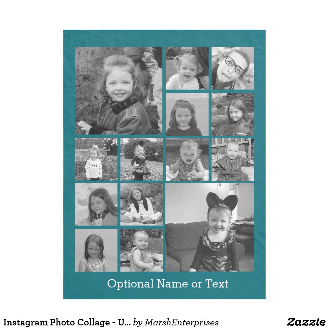 Instagram Photo Collage - Up to 14 photos Blue Fleece Blanket Image