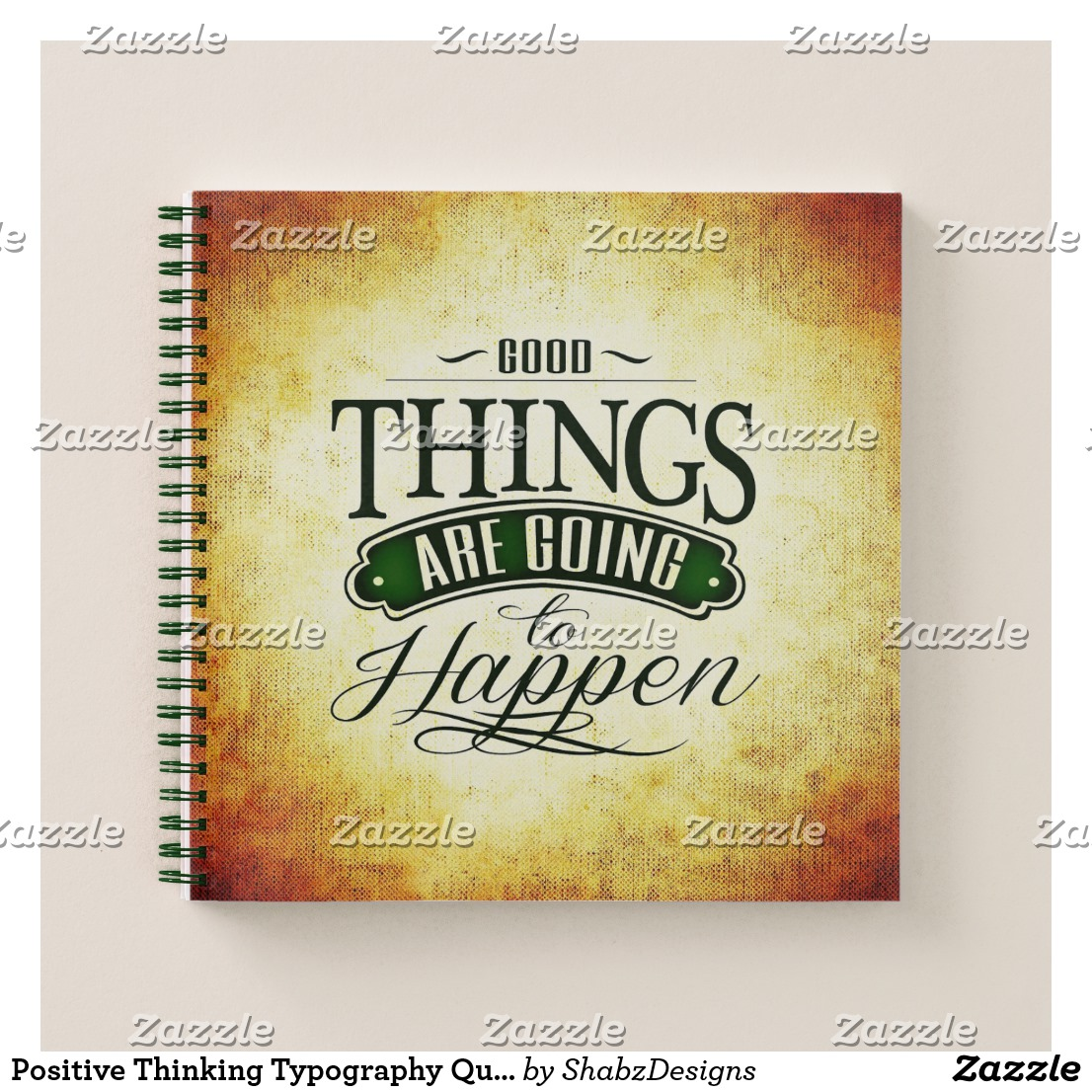 Positive Thinking Typography Quote Vintage Brown Notebook Image